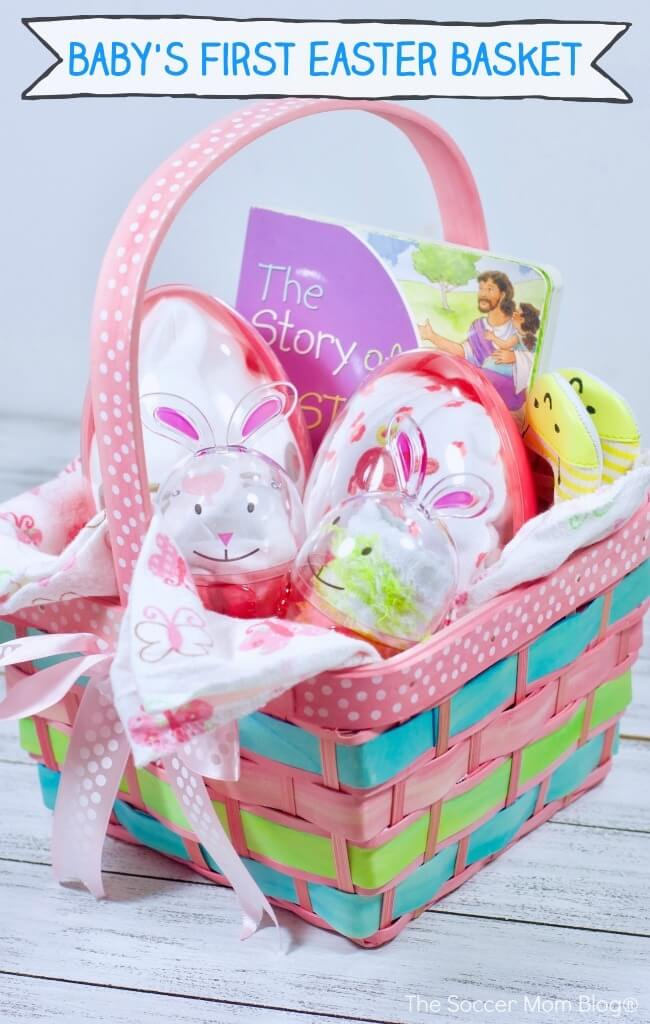 How adorable is this Baby's First Easter Basket?! Full of useful goodies for new moms and little ones.