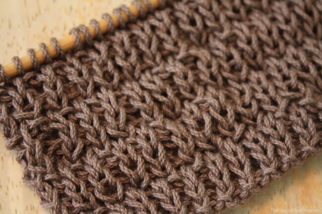 Close-up of textured stitch on DIY knitted dishcloth