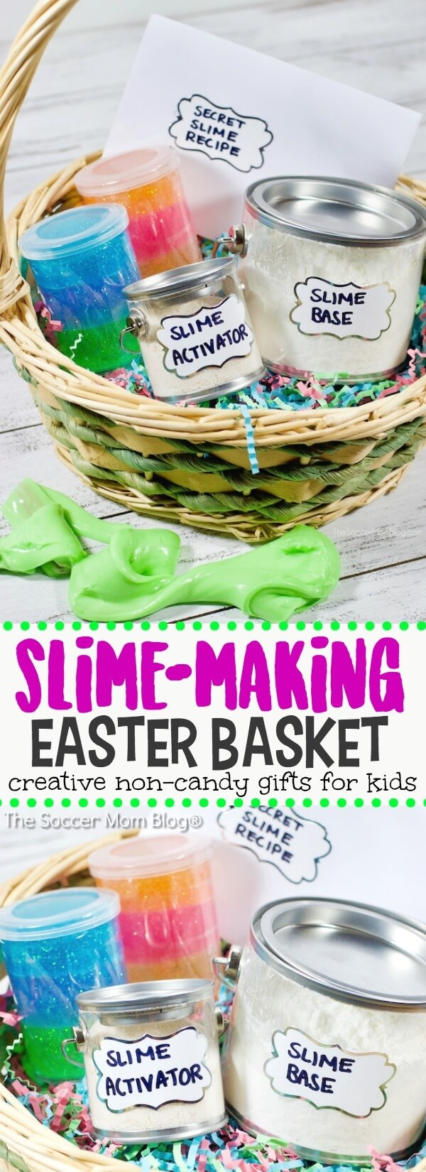 Slime easter basket for kids the soccer mom blog kids wont even miss the candy with this creative and cool slime easter basket negle Images