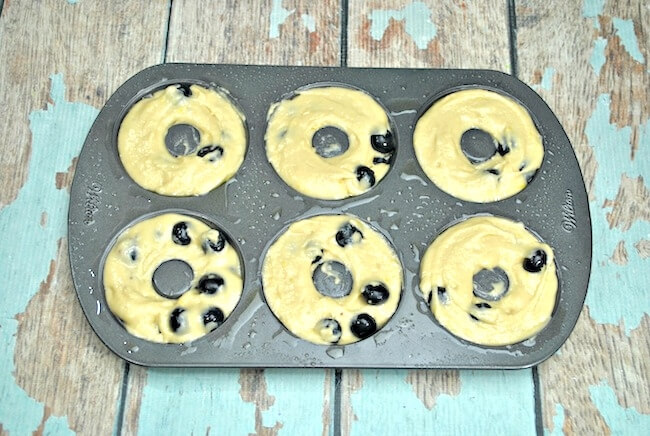 Baked lemon blueberry donuts in pan