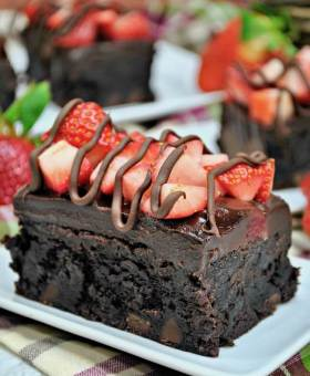 Velvety Chocolate Covered Strawberry Brownies