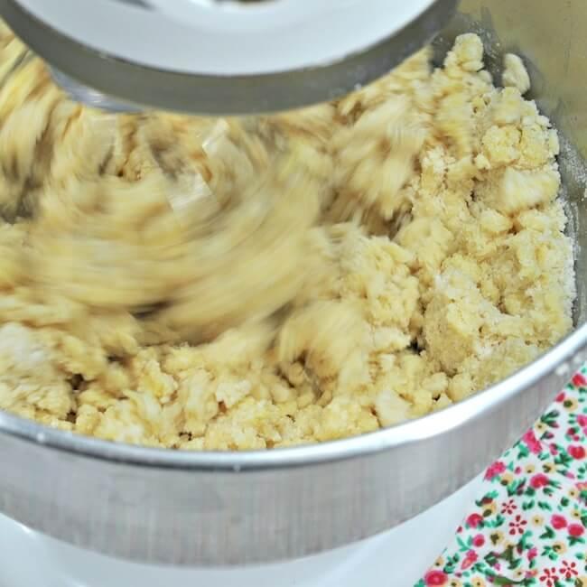 Making blackberry crumble bars dough in mixer