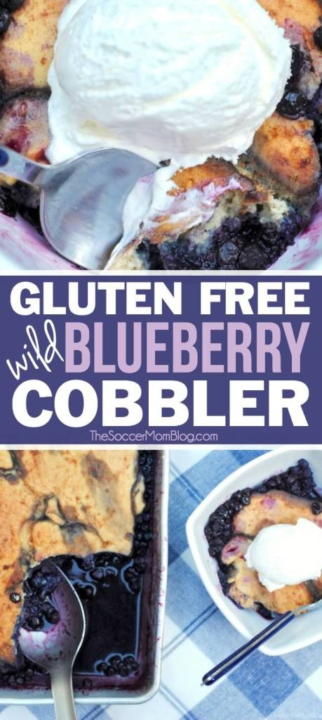 A favorite recipe in our family for decades! This fluffy cake-style gluten free blueberry cobbler is a guilt-free version of the classic summer dessert!