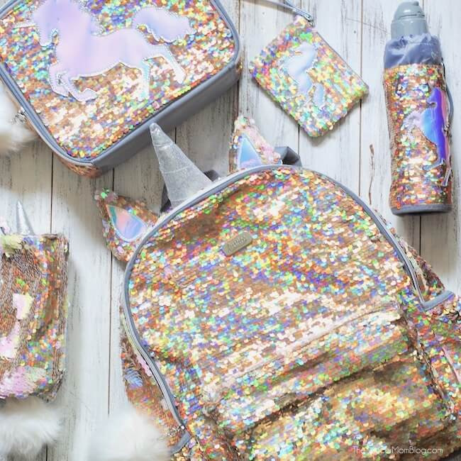 Justice Unicorn Sequin backpack with matching lunchbox & accessories