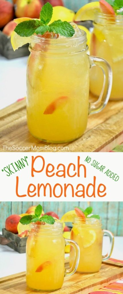 A sweet indulgence, without all the extra calories— thisskinny peach lemonade is our new favorite summertime drink! Made with real, fresh fruit.