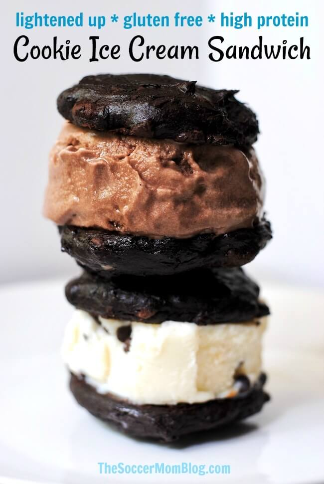 This gluten free chocolate cookie ice cream sandwich is a decadent treat with half the calories of the usual store-bought cookie ice cream sandwiches!