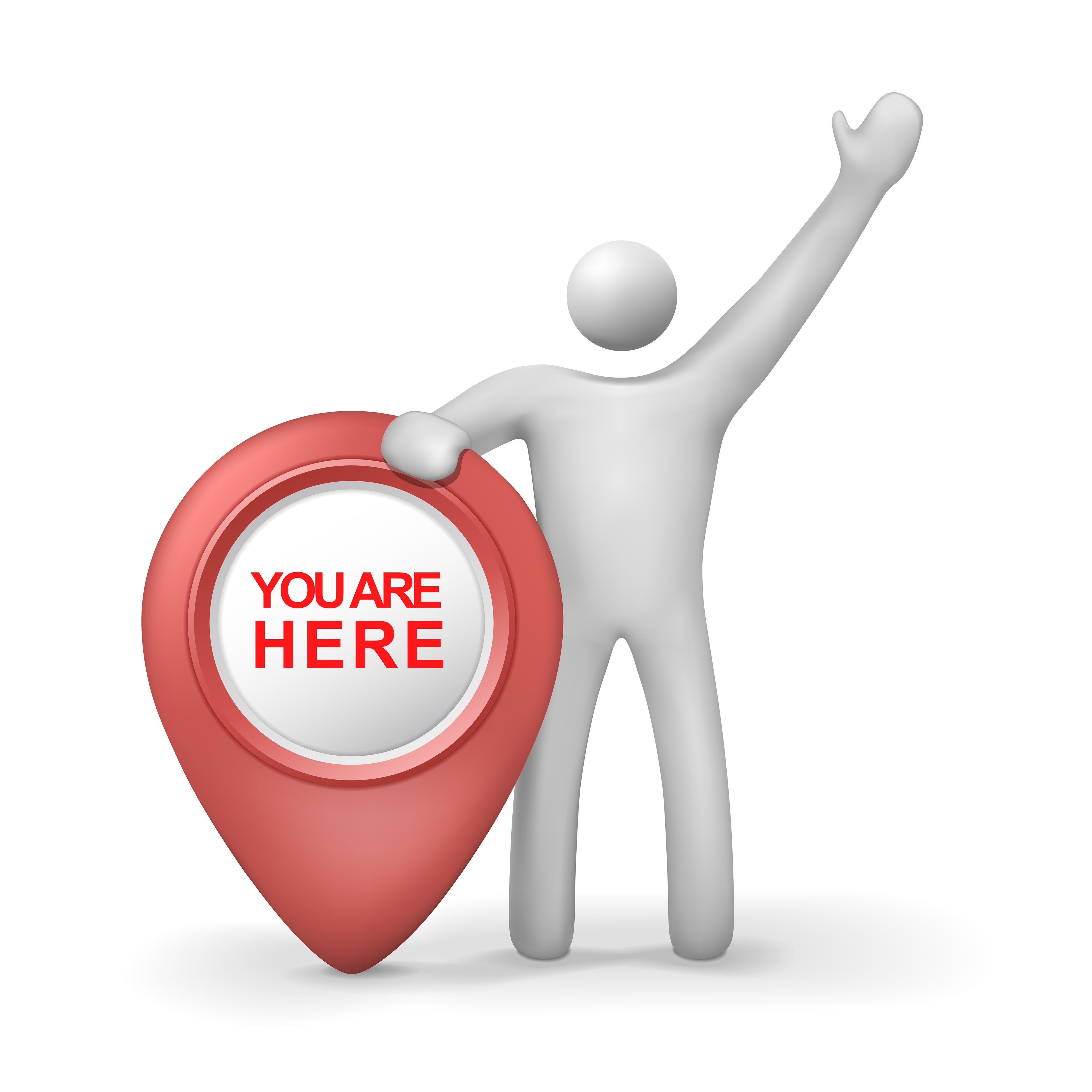 3d human with you are here symbol