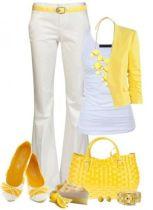 look giallo e bianco