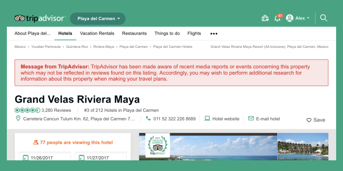Get Notified About TripAdvisor Warning Badges