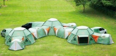 (These are small tents, but you get the idea.)