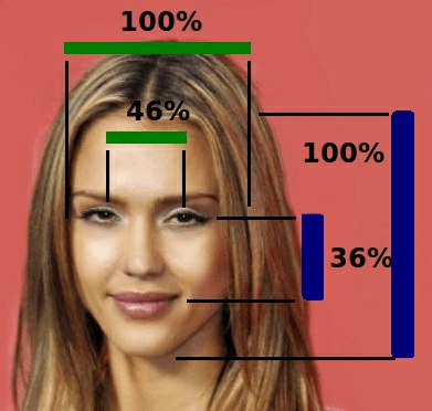 "A University of Toronto Study identified the ""golden"" facial proportions for women (http://www.news.utoronto.ca/researchers-discover-new-golden-ratios-female-facial-beauty-0)"