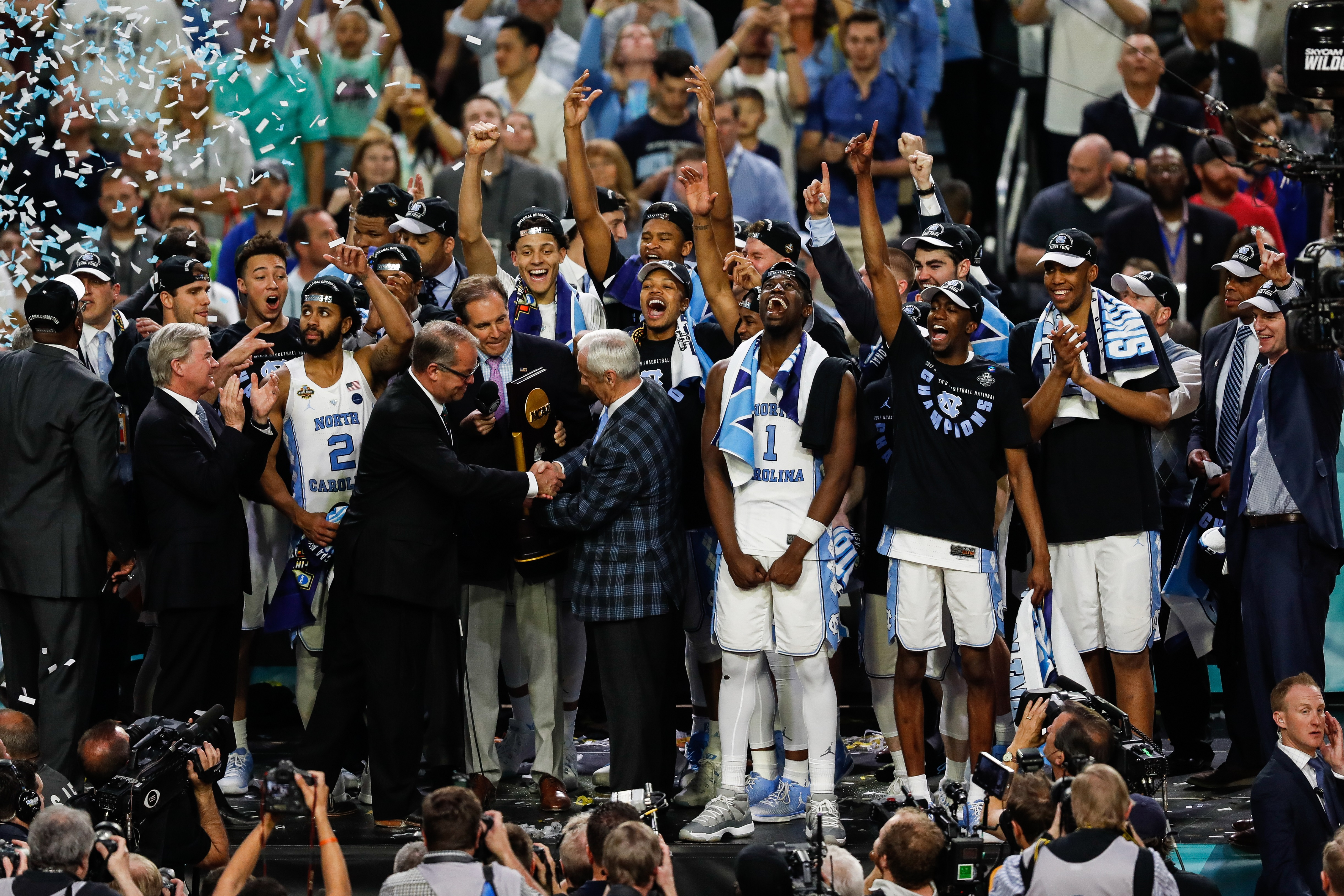 pretty nice 111e9 3d55a The University of North Carolina men s basketball team celebrates after  winning the 2017 National Championship. Photo From Nathan Klima The Daily Tar  Heel