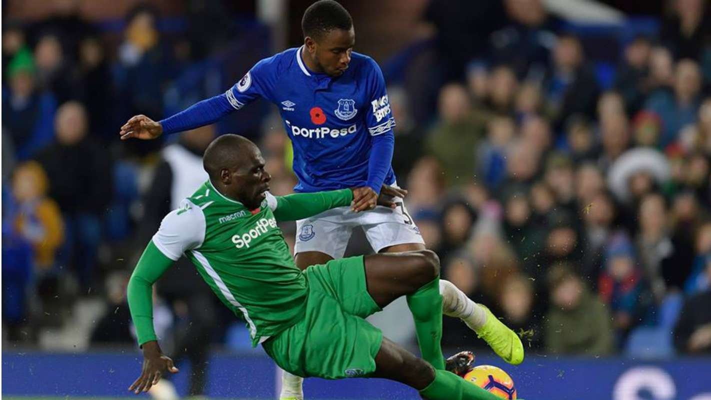 Everton's Ademola Lookman battles for the ball with Joash Onyango of Gor Mahia during the SportPesa Trophy match in November 2018