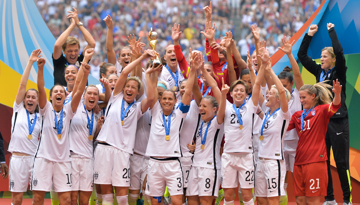 The U.S. Women's National Soccer Team celebrates victory in the 2015 FIFA World Cup.
