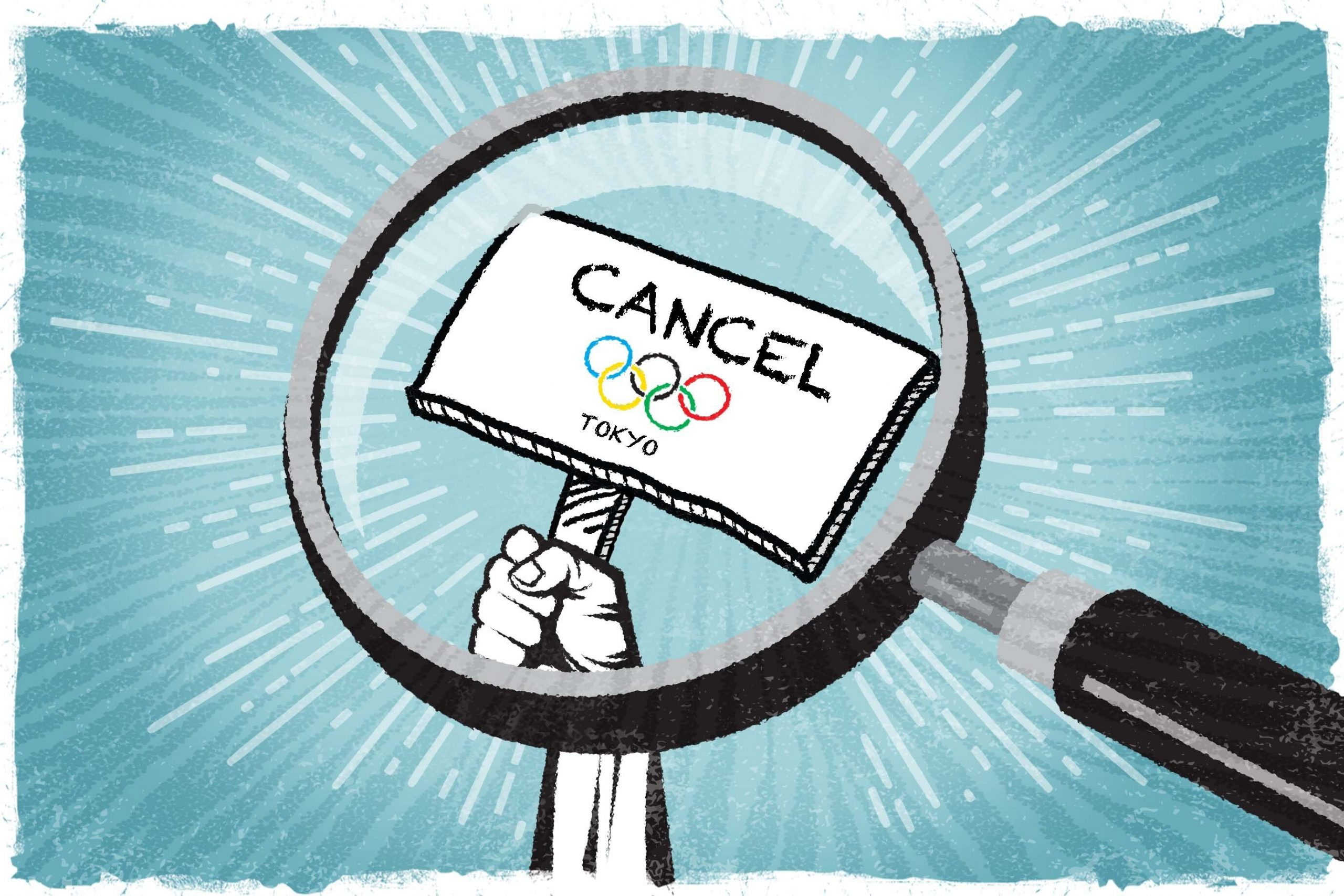 """A drawing of the Olympic rings with the word """"CANCEL"""" written above it. A magnifying glass is positioned in front of the rings."""