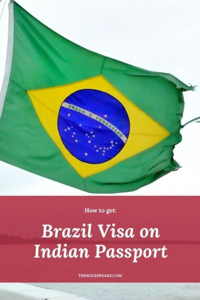 Brazil flag with text 'Brazil Visa on Indian passport'
