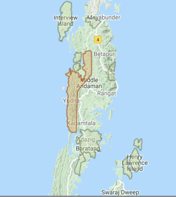 Andaman map with west coast highlighted
