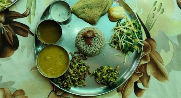 Millet, salad, jackfruit, dosa, rasam, sambar, and other curried on a steel plate in Solitude farm in Auroville