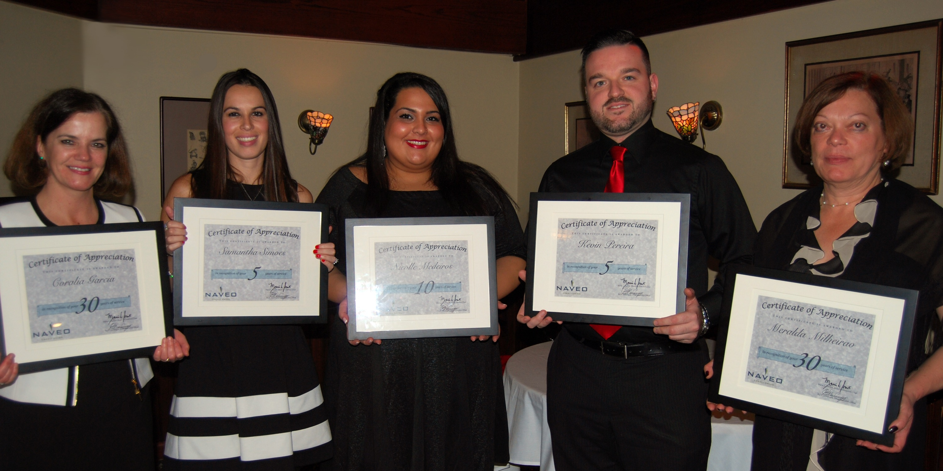Naveo Credit Union Presents Service Awards To Five Employees In