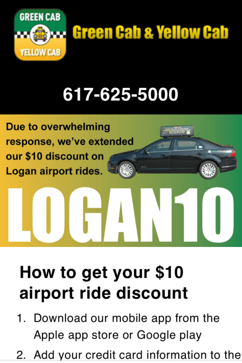 Green Cab & Yellow Cab $10 Logan Airport Ride Discount | The