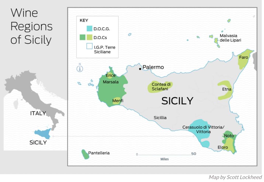 Map of Sicily Wine Regions