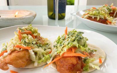 Fish Tacos with Cilantro Lime Crema