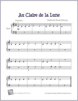 Notes Au Clair De La Lune : notes, clair, Clair, Piano, Sheet, Music,, Lyrics, Chords, Songs