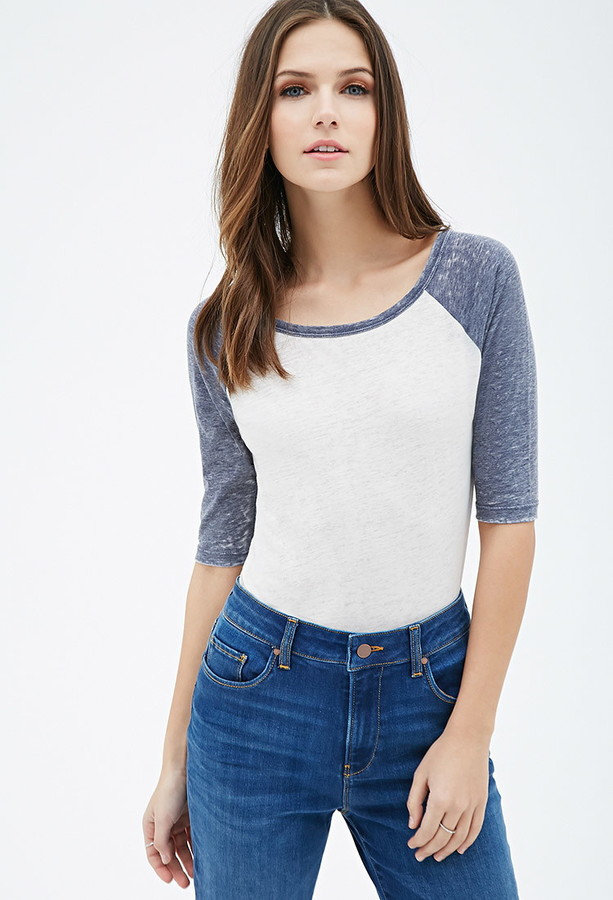 heathered baseball top