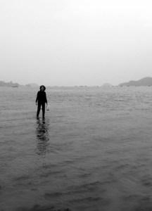 woman walking on water