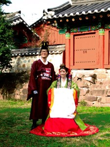 Busan, Korea: Traditional Wedding Ceremony, Couple in Hanbok