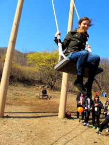 Icheon, Korea: Sansuyu Festival, Swinging