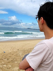 Jae-oo Looking at a Wollongong Beach, Australia