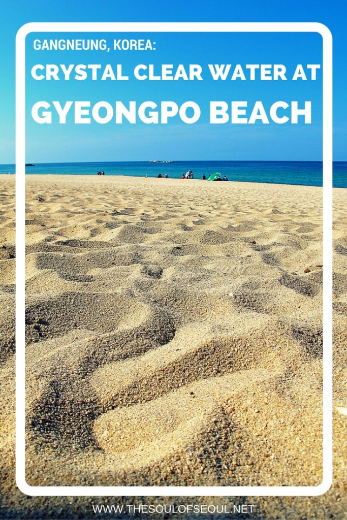 Gyeongpo Beach in Gangneung, Korea is a popular east coast summer destination in Korea for good reason. Beautiful white sand and crystal clear blue water are spectacular and give the vibe of summer fun that everyone searches for. Must see getaway spot in Korea.
