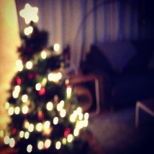 Merry Christmas, blurred Christmas tree lights