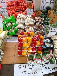 Seoul, Korea: Mapo-gu Mangwon Traditional Market, fruit and veggies