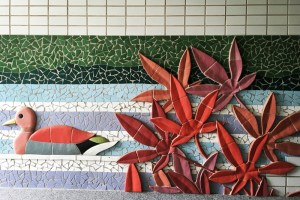 Yeonnam-dong, Seoul, Korea: Tiled Mural in a Tunnel