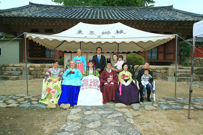 Korean Traditional Wedding: American wife & Korean husband in traditional Korean Hanboks, Korean & American family in Hanboks