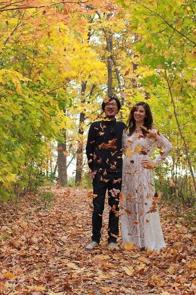Dayton, Ohio: Family Portrait; Autumn leaves