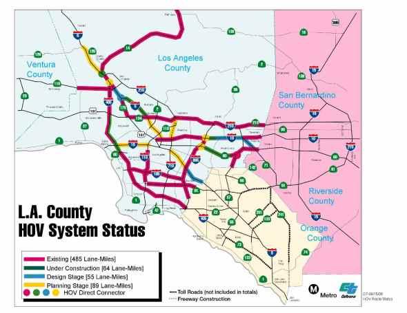 HOV Lane Map LA County