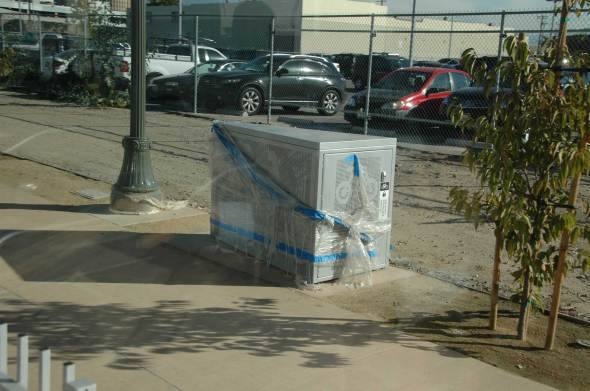 Bicycle Locker still under wraps at the Little Tokyo/Arts District Gold Line Station.