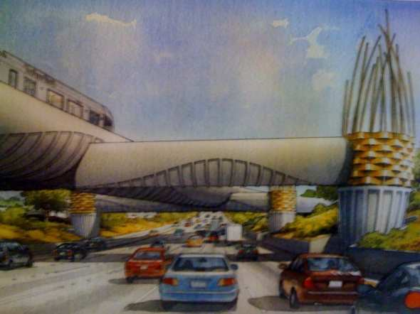 A rendering of the bridge that would take the Foothill Extension of the Gold Line from the middle of the 210 freeway to the south side and toward Arcadia