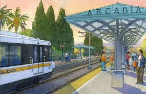 A rendering of the Arcadia Station for the Gold Line Foothill Extension