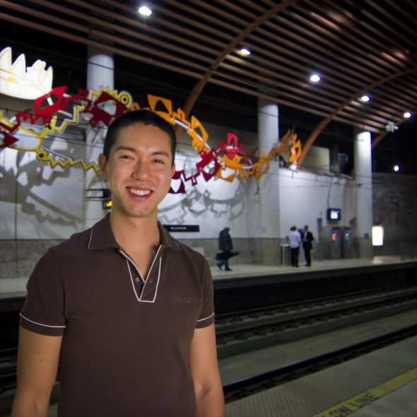 Brigham Yen at the Metro Gold Line Memorial Park Station. Photo by Fred Camino/Metro.