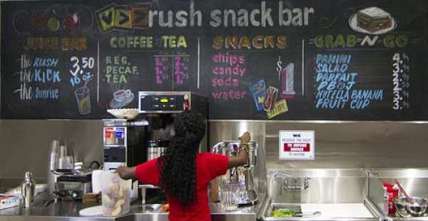 The Rush Snack Bar menu.