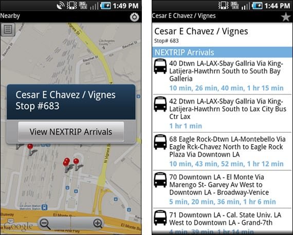Go Metro for Android - Nearby and Nextrip screens
