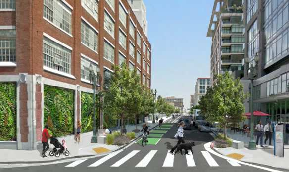 Looking south on Hope Street from 11th; that's the Starbucks on the right. Rendering: city of Los Angeles.