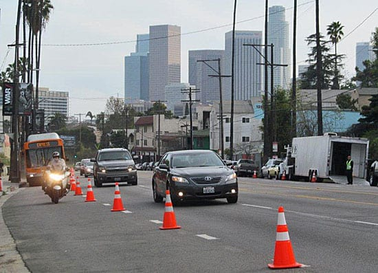The bus lane en route to Dodger Stadium. Photo: Metro.