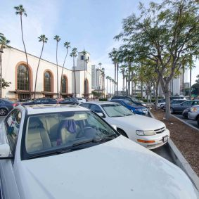 This is the parking lot in front which separates Union Station from Alameda Street.
