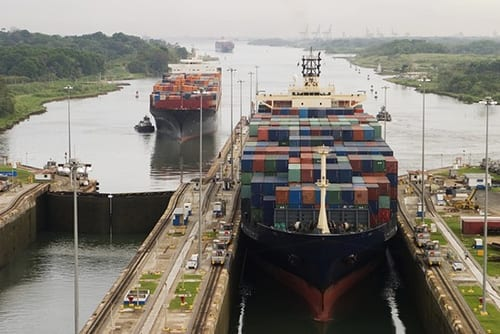Cargo ships on the Panama Canal in a 2008 photo. Credit: ThinkPanama, via Flickr creative commons.