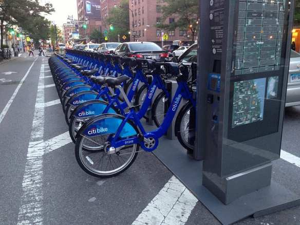 A bike sharing station on (I think) Eighth Avenue in Manhattan in my old 'hood. Photo by ccho, via Flickr creative commons.
